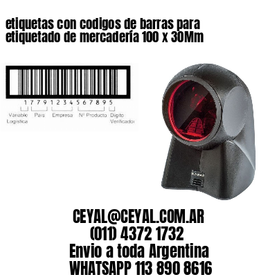 etiquetas con codigos de barras para etiquetado de mercadería 100 x 30Mm