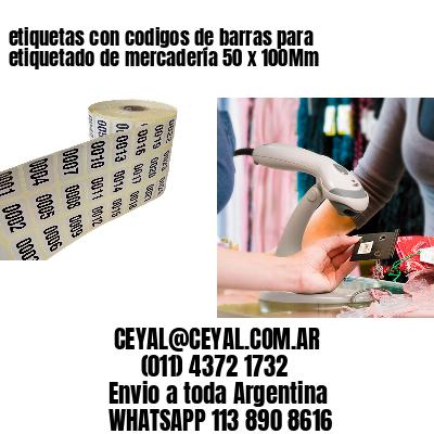 etiquetas con codigos de barras para etiquetado de mercadería 50 x 100Mm