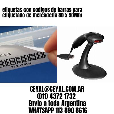 etiquetas con codigos de barras para etiquetado de mercadería 80 x 90Mm