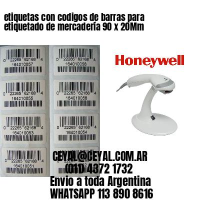 etiquetas con codigos de barras para etiquetado de mercadería 90 x 20Mm