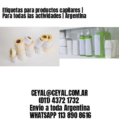 Etiquetas para productos capilares | Para todas las actividades | Argentina