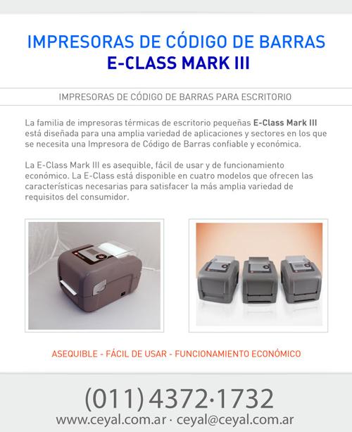 Impresoras de Código de Barras E-Class Mark III